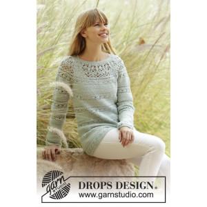 Sweet Mint by DROPS Design - Crochet Jumper with Lace Pattern size S - XXXL