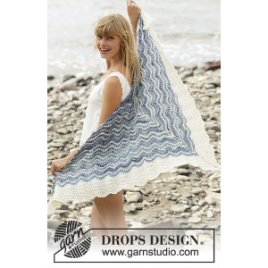 Mer Bleue by DROPS Design - Knitted Shawl with Stripes and Wave Pattern 166x75 cm