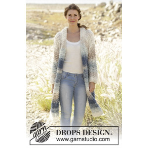 Ocean Roar by DROPS Design - Knitted Jacket in Garter Stitch Pattern size S - XXXL