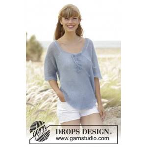 Blue Mist by DROPS Design - Knitted Jumper with Vents and Ties Pattern size S - XXXL