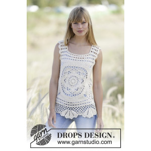 Elvira by DROPS Design - Crochet Top with Squares Pattern size XS/S - XL/XXL