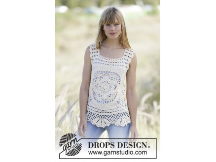 Elvira By Drops Design Crochet Top With Squares Pattern Size Xss