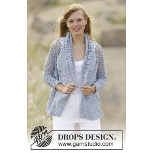 Endless Love by DROPS Design - Crochet Jacket with trebles and lace Pattern size S/M - XXL/XXXL
