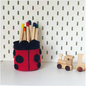 Ladybug Basket by Rito Krea - Basket Crochet Pattern 10cm
