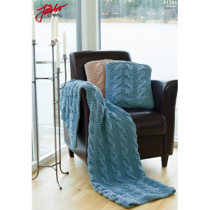 Hoooked DIY Kit Knitted Pillow and Blanket 45x45 cm and 175x70 cm