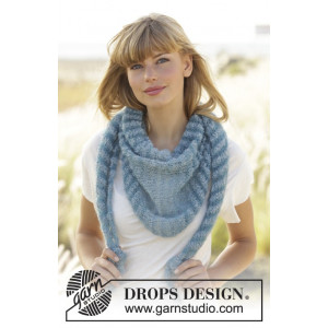 Hues of Blues by DROPS Design - Knitted Shawl Lace Pattern 190x40 cm