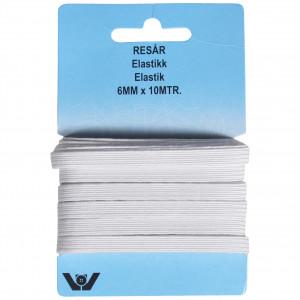 Elastic Flat Rubber Band White 6mm 10m
