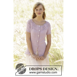 Becca Cardigan by DROPS Design - Knitted Jacket Waves Pattern size S - XXXL