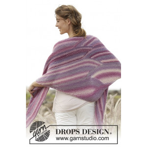 Retro Waves by DROPS Design - Knitted Shawl Wave Pattern 180x63 cm