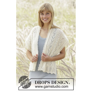 Sweet Alicia by DROPS Design - Knitted Stole Lace Pattern 144x42 cm