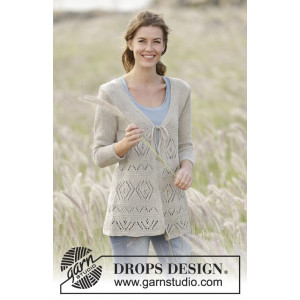 Late Spring by DROPS Design - Knitted Jacket Lace Pattern size S - XXXL