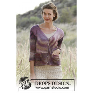City Stroll by DROPS Design - Knitted Jacket with Stripes and Pockets Pattern size S - XXXL
