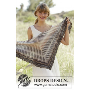 Cafe by DROPS Design - Knitted Shawl with Stripes and Wave Pattern 150x50 cm