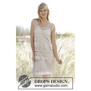 Summer Bliss by DROPS Design - Crochet Tunic with A-shape Pattern size S - XXXL