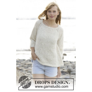Stay Longer by DROPS Design - Knitted Jumper Raglan Pattern size S - XXXL
