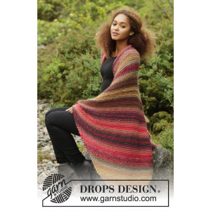 Autumn Lights by DROPS Design - Knitted Blanket Stripes Pattern 140x90 cm