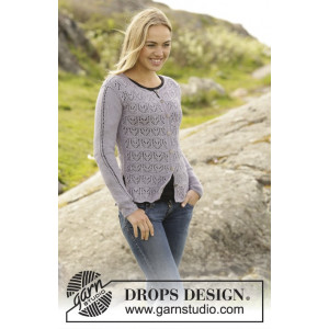 Erendis Cardigan by DROPS Design - Knitted Jacket Lace Pattern size S - XXXL