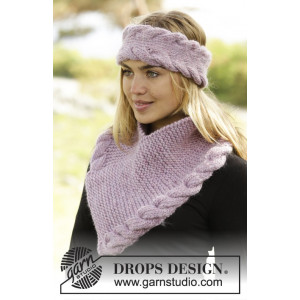 Braided Warmth by DROPS Design - Knitted Head band and Neck Warmer Set Pattern S/M - M/L