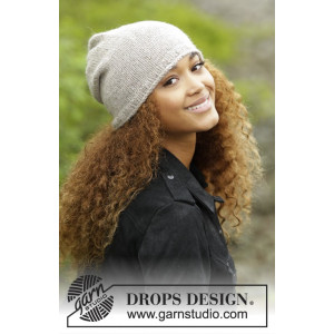 Dakota by DROPS Design - Knitted Hat with Rolling Edge Pattern S/M - M/L