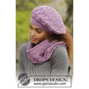 Myra by DROPS Design - Knitted Beret and Neck Warmer with Lace Pattern size S - XL