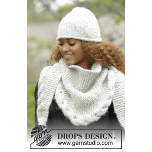 Winter Cozy by DROPS Design - Hat and Shawl with Cable Edge Pattern size S - XL and 165x45 cm
