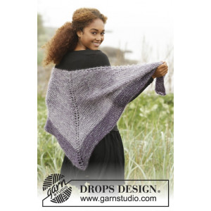 Get the Point by DROPS Design - Knitted Triangular Shawl Pattern 164x70 cm
