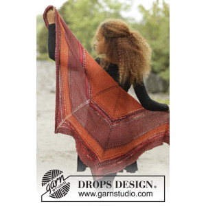 Dragon Fire by DROPS Design - Knitted Shawl with Lace Pattern 168x62 cm