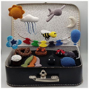 Song Suitcase by Rito Krea - Song Suitcase Items Crochet pattern - 16 pcs.