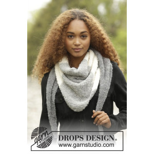 Warm Mist by DROPS Design - Knitted Shawl with Block Stripes Pattern 180x40 cm