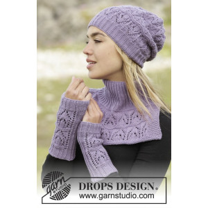 Sweet Verbena by DROPS Design - Knitted Set with Hat, Neck and Wrist Warmers Pattern size S/M - M/L