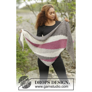 Tide Rose by DROPS Design - Knitted Shawl with Stripes Pattern 175x62 cm