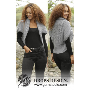 Grey Whisper by DROPS Design - Knitted Shoulder Piece with Cables Pattern size S/M - XXXL