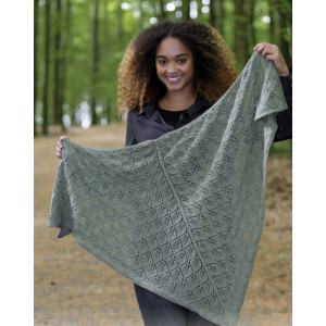 Sage Dream by DROPS Design - Knitted Shawl with Lace Pattern 144x72 cm