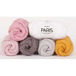 Spring Lane by DROPS Design - Mystery CAL Crochet Kit Blanket White/Grey/Rose/Mustard - 90x115 cm