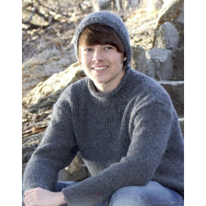 Rover by DROPS Design - Knitted Sweater, Hat and Scarf Pattern size S - XXL