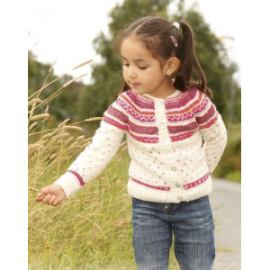 Jolie Fleur by DROPS Design - Knitted Jacket with multi-coloured Pattern size 3 - 12 years