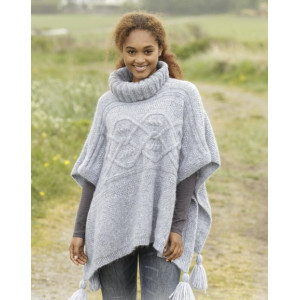 Alanna by DROPS Design - Knitted Poncho with Cables Pattern size S - XXXL