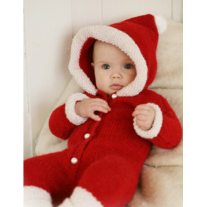 My First Christmas by DROPS Design - Knitted Baby Santa onesie with Hood Pattern size 1 months - 4 years