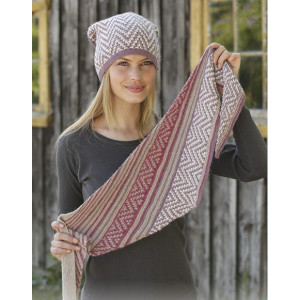 Purple Wayby DROPS Design - Knitted Hat and Shawl Pattern Sizes S - L