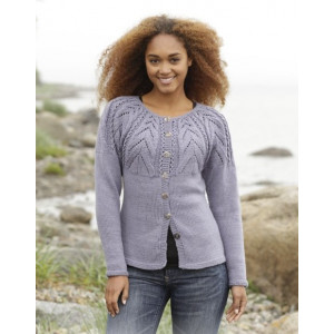 Magic Web Cardigan by DROPS Design - Knitted Jacket with Lace Yoke Pattern size S - XXXL