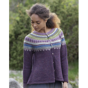 Blueberry Fizz Jacket by DROPS Design - Knitted Jacket with multi-coloured Norwegian Pattern size S - XXXL