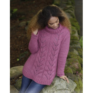 Lotus by DROPS Design - Knitted Jumper with Lace and Rib Pattern size S - XXXL