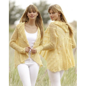 Oasis by DROPS Design - Crochet Jacket Circle with Lace Pattern size S - XXXL