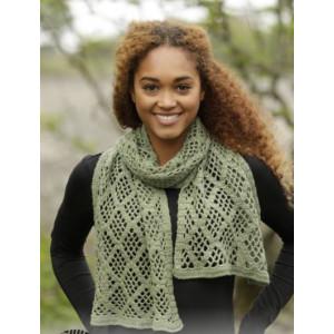Olive Diamonds by DROPS Design - Scarf Crochet Pattern 140x37 cm