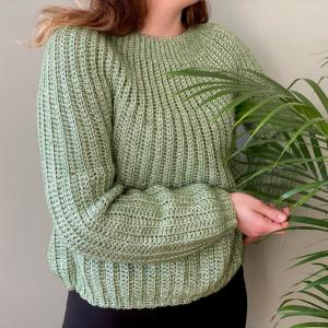Light Green Jumper by Rito Krea - Jumper Crochet Pattern Size XS-XXL