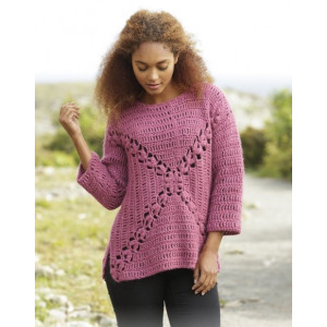 Autumn Rose by DROPS Design - Crochet Jumper with Fan Pattern size S - XXXL