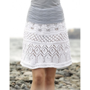 Summer Elegance by DROPS Design - Knitted Skirt with Lace Pattern size S - XXXL