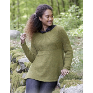 Evergreen by DROPS Design - Knitted Jumper with Round yoke, English Rib and A-shape Pattern size S - XXXL