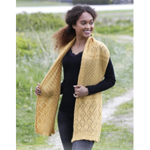 Dreamy Daffodil by DROPS Design - Knitted Stole with Lace Pattern 156x35 cm