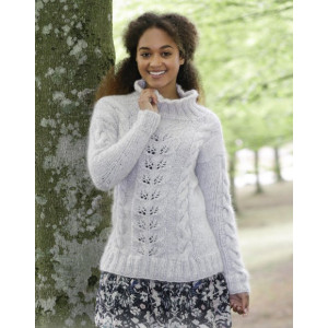Winter Flirt by DROPS Design - Knitted Jumper With Cables and Lace Pattern size S - XXXL
